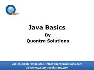 Java Baiscs Online Training by Quontra Solutions