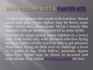 How To Construct A Fighter Kite