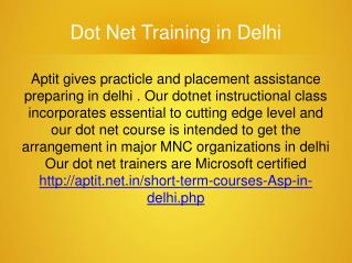 Dot Net Classes in Delhi