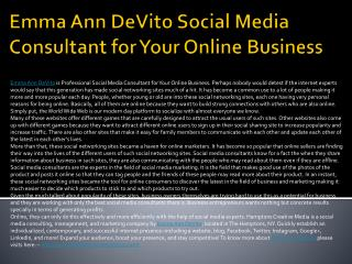 Emma Ann DeVito Social Media Consultant for Your Online Busi