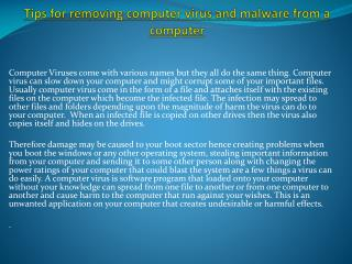 Tips for removing computer virus and malware from a computer