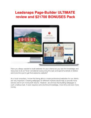 Leadsnaps detail review and special bonuses included