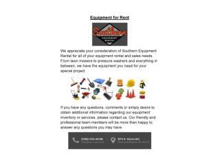 Equipment for Rent