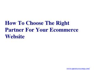 Choosing an eCommerce Development Partner