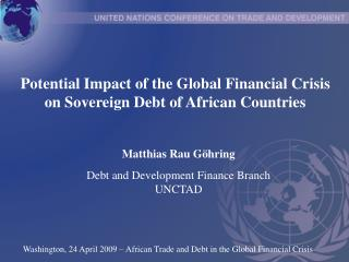 Potential Impact of the Global Financial Crisis on Sovereign Debt of African Countries
