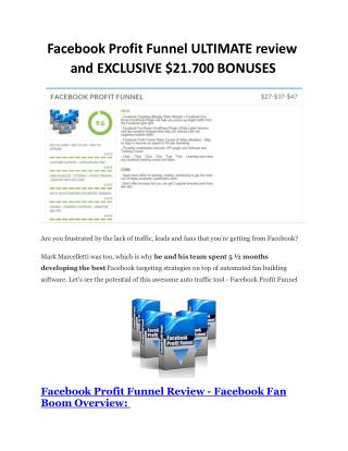 Facebook Profit Funnel detail review and special bonuses inc