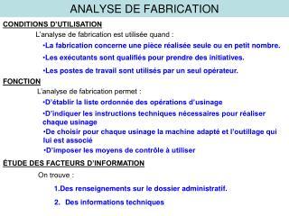 ANALYSE DE FABRICATION