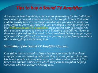 Tips to buy a Sound TV Amplifier