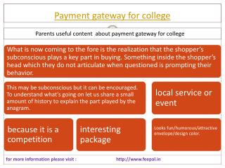 Set a price for a service of payment gateway for college