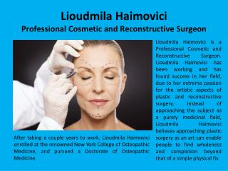 Lioudmila Haimovici - Professional Cosmetic and Reconstructive Surgeon