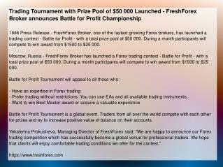 Trading Tournament with Prize Pool of $50 000 Launched