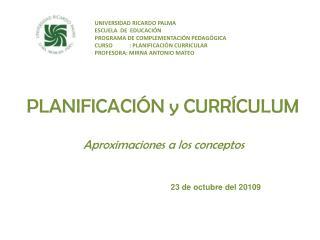 PLANIFICACI N y CURR CULUM