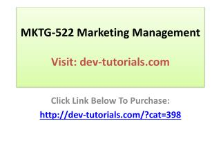 MKTG-522 Marketing Management: Complete Course / Devry Unive