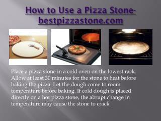 Using a pizza stone