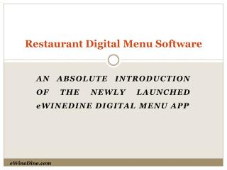 Restaurant Digital Menu Software