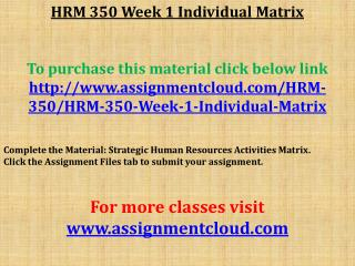 HRM 350 Week 1 Individual Matrix