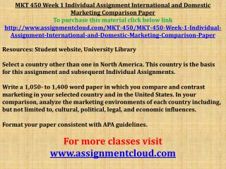 MKT 450 Week 1 Individual Assignment International and Domes
