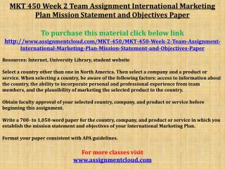 MKT 450 Week 2 Team Assignment International Marketing Plan