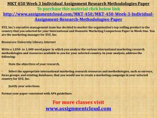MKT 450 Week 3 Individual Assignment Research Methodologies
