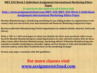 MKT 450 Week 5 Individual Assignment International Marketing