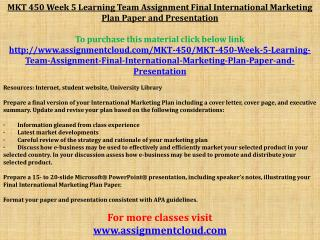 MKT 450 Week 5 Learning Team Assignment Final International