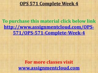 OPS 571 Complete Week 4