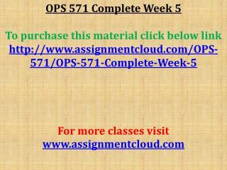 OPS 571 Complete Week 5