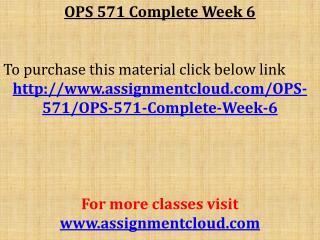 OPS 571 Complete Week 6
