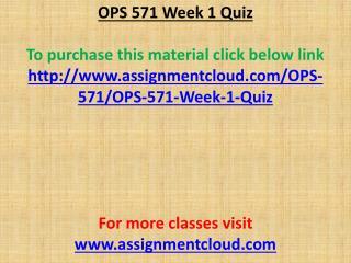 OPS 571 Week 1 Quiz