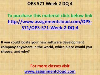 OPS 571 Week 2 DQ 4
