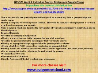OPS 571 Week 2 Individual Process Designs and Supply Chains