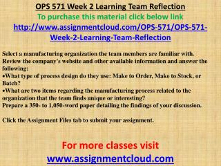 OPS 571 Week 2 Learning Team Reflection