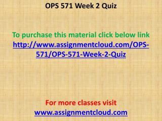 OPS 571 Week 2 Quiz
