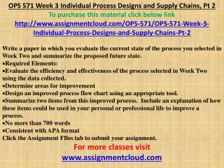 OPS 571 Week 3 Individual Process Designs and Supply Chains,
