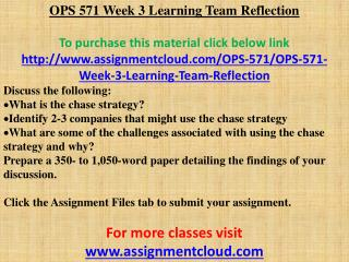 OPS 571 Week 3 Learning Team Reflection