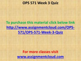 OPS 571 Week 3 Quiz