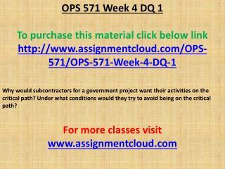 OPS 571 Week 4 DQ 1