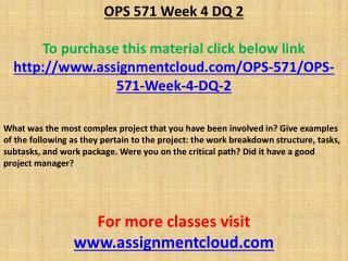 OPS 571 Week 4 DQ 2