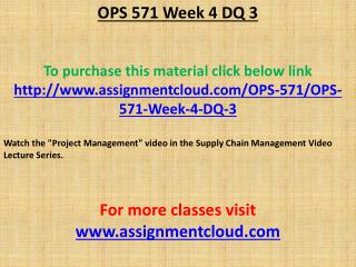OPS 571 Week 4 DQ 3