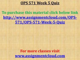 OPS 571 Week 5 Quiz