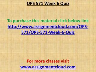 OPS 571 Week 6 Quiz