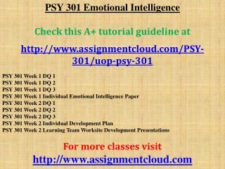 PSY 301 Emotional Intelligence