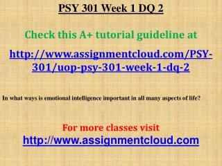 PSY 301 Week 1 DQ 2