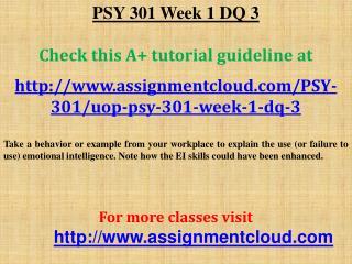 PSY 301 Week 1 DQ 3
