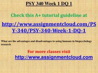 PSY 340 Week 1 DQ 1