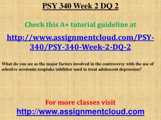PSY 340 Week 2 DQ 2