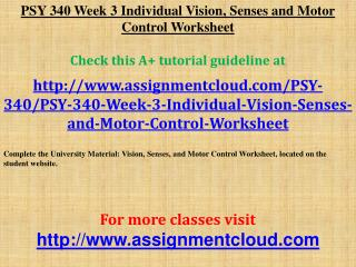 PSY 340 Week 3 Individual Vision, Senses and Motor Control W