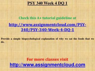 PSY 340 Week 4 DQ 1