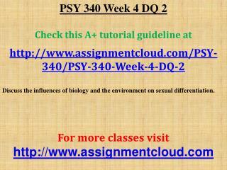 PSY 340 Week 4 DQ 2