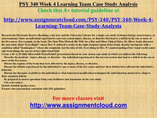 PSY 340 Week 4 Learning Team Case Study Analysis